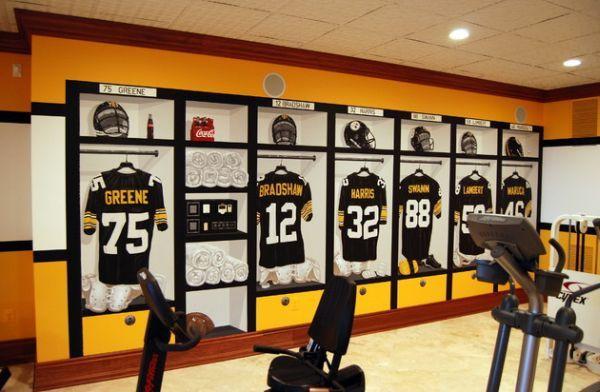Pittsburgh Steelers 1970′s Locker Room Mural inside the Home Gym