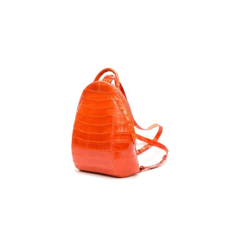 #Manokhi orange croc backpach