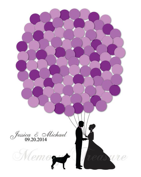 Wedding Guestbook Alternative Balloons Pet Dog by MemoryTreasure