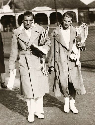 Fred Perry (left), 1933 The man behind the legendary clothing label (which launched at Wimbledon in 1952) rocks a popped collar under a trench coat.