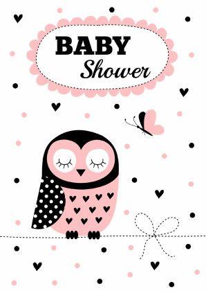Babyshower uil roze. Design: Patricia van Hulsentop Te vinden op: www.kaartje2go.nl