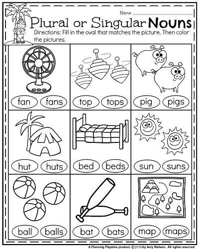Summer Kindergarten Worksheets - Plural or Singular Nouns.