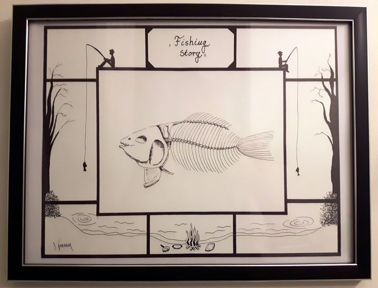 """$46 """"Fishing Story"""" 11''x14'' ORIGINAL FINE BLACK PEN DRAWING ON PAPER by Ive Vresan."""