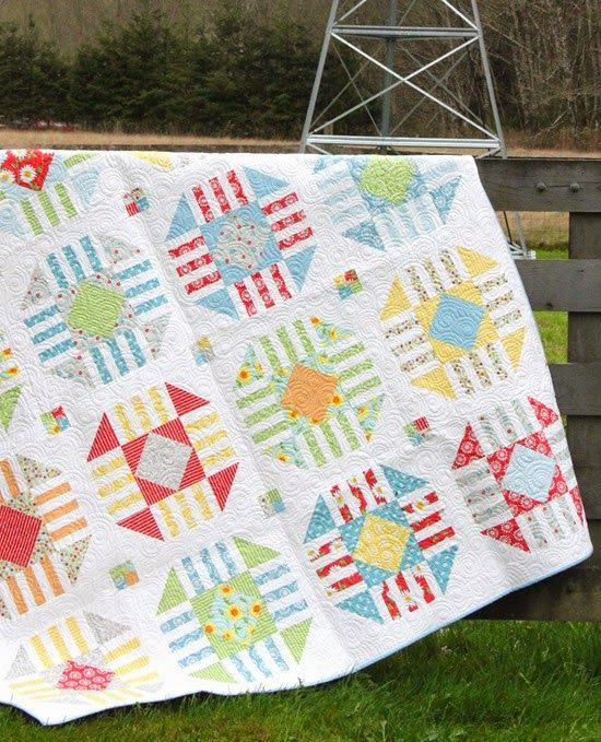 Vintage Pattern in Oh Clementine - Fat Quarter Quilt by Cluck Cluck Sew