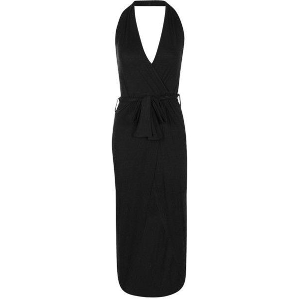 Boohoo Elle Wrap Front Halter Skirted Maxi Dress   Boohoo ($12) ❤ liked on Polyvore featuring dresses, halter-neck maxi dresses, wrap front dress, halter neck maxi dress, halter strap dress and halter neckline dress