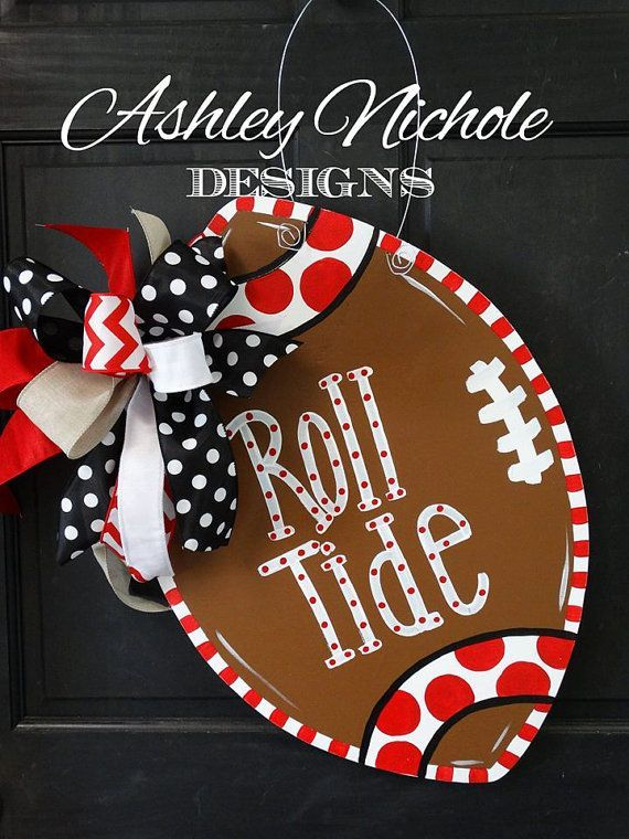 Alabama Crimson Tide Inspired Football Door Hanger, Door Decoration,  Fall Wreath, Wooden Football