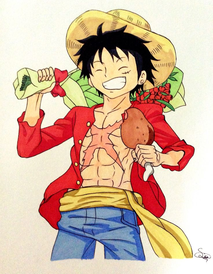 Monkey D. Luffy with Meat-senpai