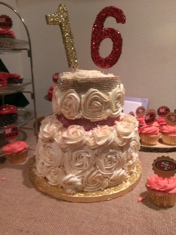 Sweet 16 Cake.....red N Gold Theme!