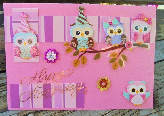 Owl Party  handmade card FWB birthday card by RogueKissedCraft