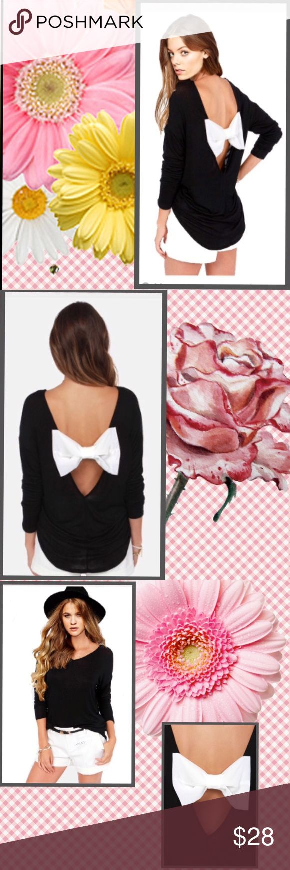 """T-SHIRT WITH BOW ADORABLE PLUS SIZE T-SHIRT WITH A BOW ON THE BACK..LONG SLEEVE, WITH V-NECK , arm pit to arm pit 26"""" length 26', I think should fit a 1X-2X ...material has stretch to it ...in in package Tops Tees - Long Sleeve"""