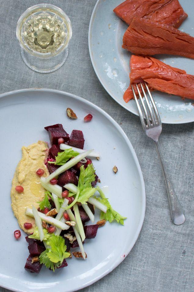 Home-Smoked Sockeye Salmon with Beet Salad - Kitchen Table Food