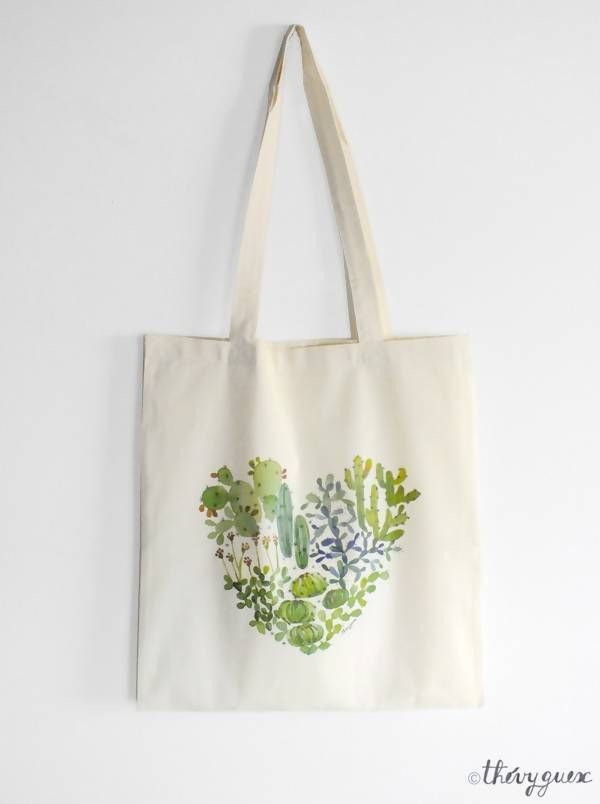 Tote Bag Coeur Cactus Vert Tote Bag Coton Bio Sac