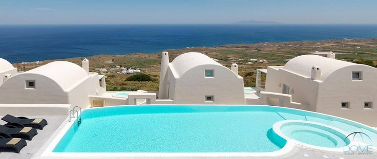A watery retreat overlooking the Aegean Sea, offering a splendid backdrop for your dives at Dome Santorini Resort! More at domesantoriniresort.gr