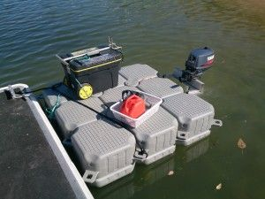 DOCKPRO FloatBricks Small Work Platform with outboard for easy movement