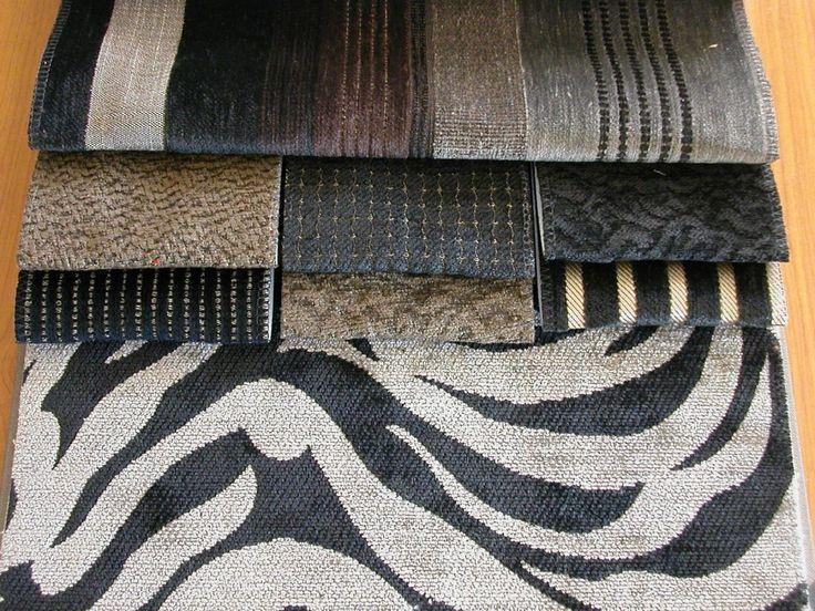 Zsenília szövött modern bútorszövet kollekció, kopásállóság típustól függően MD 20 000-100 000. Szenek: barna-fekete-szürke