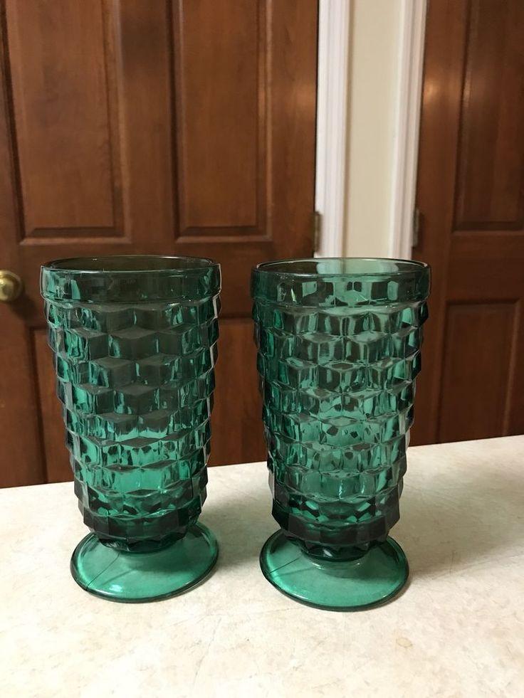2 Vintage Fostoria Glass Teal Footed Tumblers Whitehall Fostoria Cube Goblets    eBay
