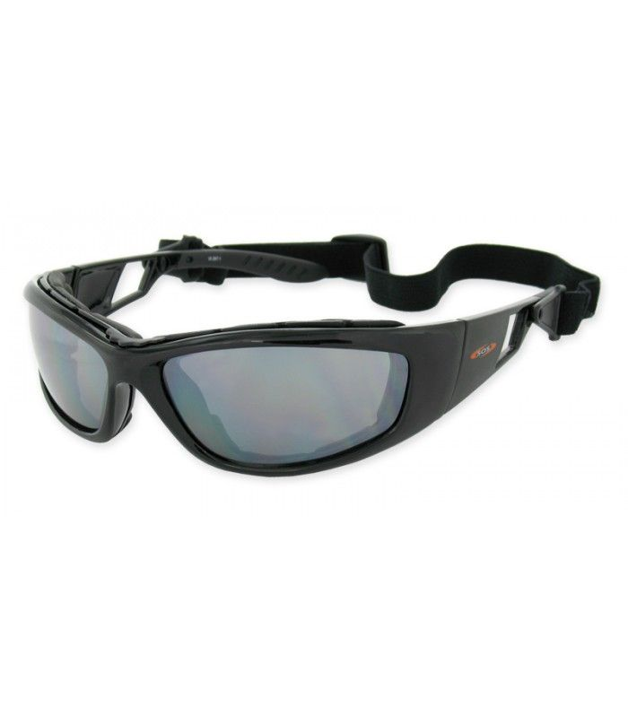 SOS Cryptic has an ergonomically designed motorcycle frame featuring a removable padded face gasket for comfort, shock absorption and protection from flying objects with it's Shatter proof DuraLite polycarbonate lenses.