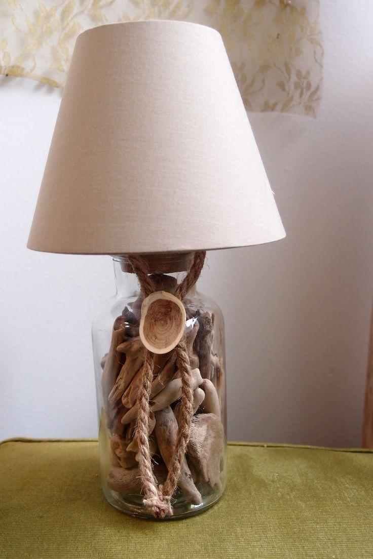 driftwood Lamp...επιτραπέζιο φωτιστικό γυάλα με θαλασσοξυλα..ύψος 29cm