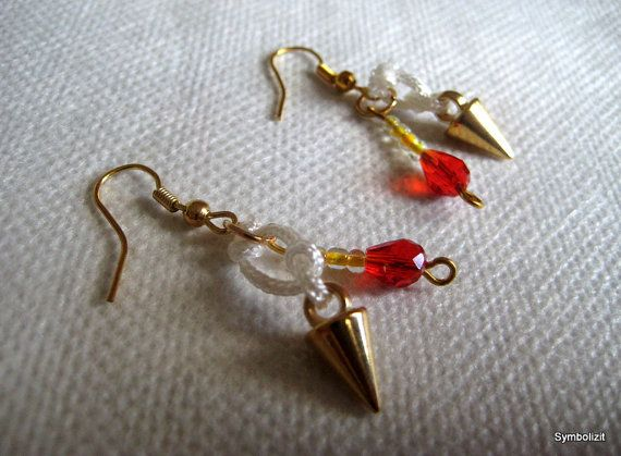 Arrowhead Earrings. Golden Earrings, White Nautical Earrings, Golden Arrowheads and Swarovski crystals. Gift for Her, OOAK