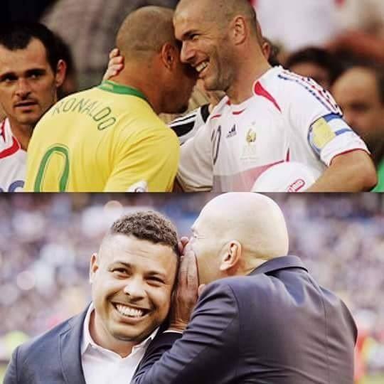 Zinedine Zidane i Brazylijczyk Ronaldo kiedyś i dziś • Stara przyjaźń nie rdzewieje • Ciekawe co mu szepcze do ucha • Wejdź i zobacz #ronaldo #zodane #football #soccer #sports #pilkanozna #futbol #sport #friends