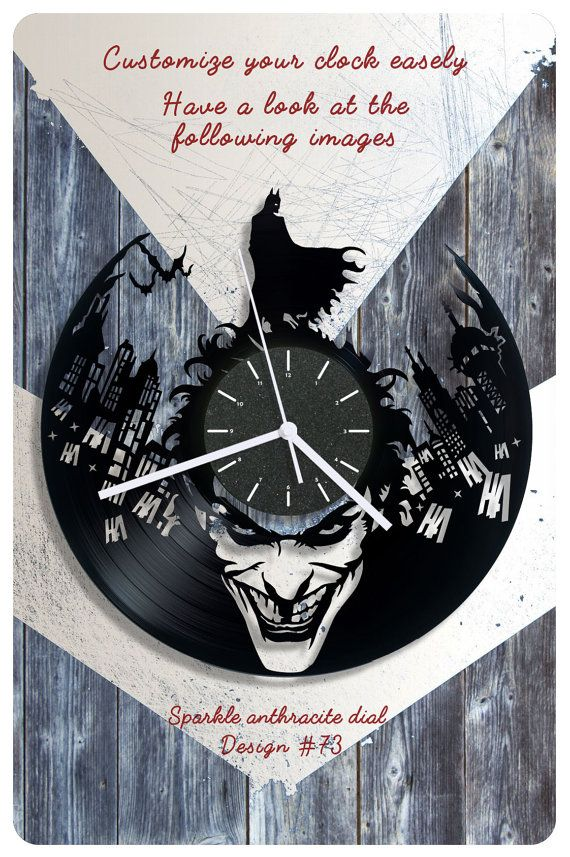 Batman vinyl wall clock Joker vinyl record clock by cheerlyshop