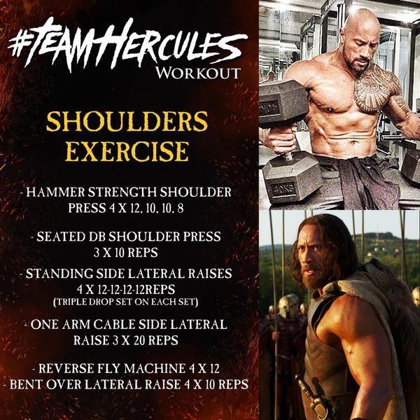 Team Hercules Workout: Shoulders Exercise - Dwayne Rock Johnson - FITNESS HASHTAG