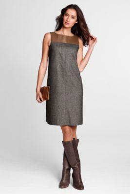 Womens Regular Woven Colourblock Fit and Flare Dress - 14 - WHITE Lands End tyntRqRXaG