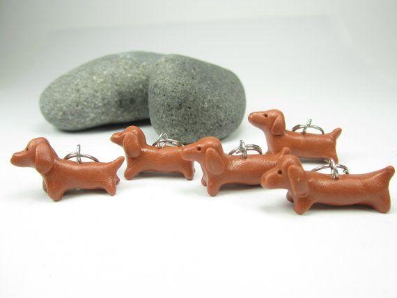 "Dachshund puntada marcadores (set de 5) Polímero arcilla perro knit knitting stitch marcadores arcilla de polímero de la perro ""miniatura amigo perro encantos regalos knitter"""