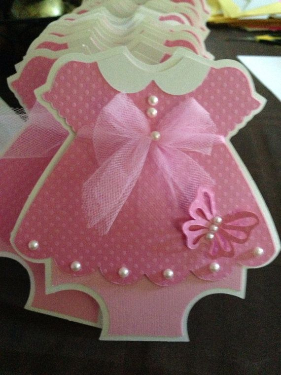 Baby Shower Pink Dress with Butterfly detail invitation  - 25 pearls & tulle - girls birthday - Baby Girl - new invitations - unique - dress