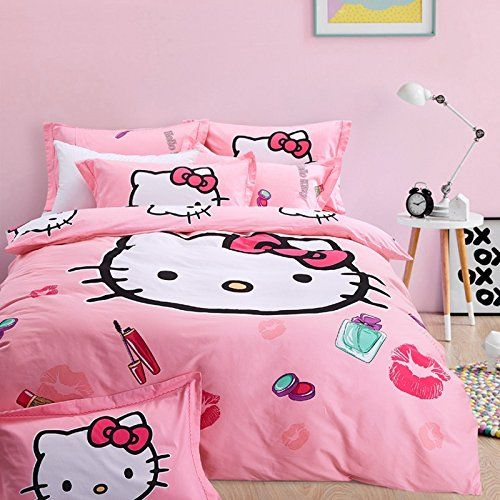 FADFAY 4Pcs Hello Kitty Bedding Sets Cute Cartoon Cotton ... https://www.amazon.com/dp/B01DU3U026/ref=cm_sw_r_pi_dp_UafFxbQ4H4345