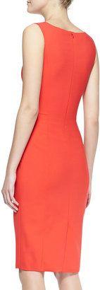Carolina Herrera Sleeveless Side-Panel Ruched Sheath Dress