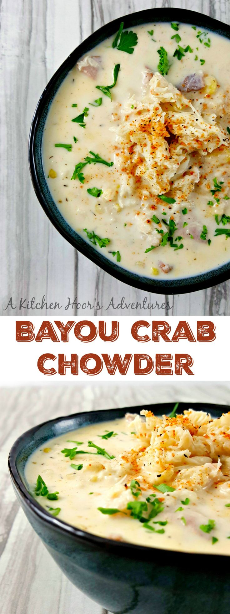 Bayou Crab Chowder is bowl of Cajun flavored deliciousness. There's hearty potatoes, sweet corn, smoky sausage, kicked up Cajun spices, and finally succulent crab in this seafood Cajun party in a bowl.