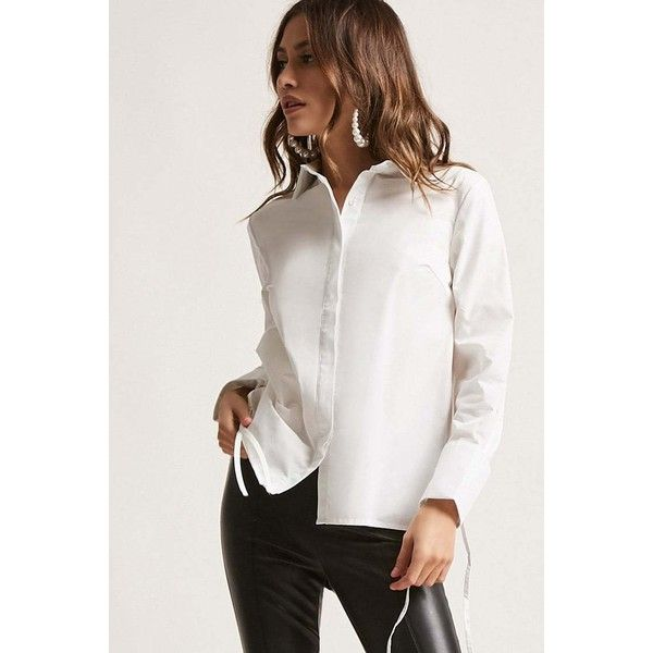 Forever21 Cuffed Button-Down Shirt ($28) ❤ liked on Polyvore featuring tops, white, button down collar shirts, white top, white long sleeve top, white button up shirt and long-sleeve shirt