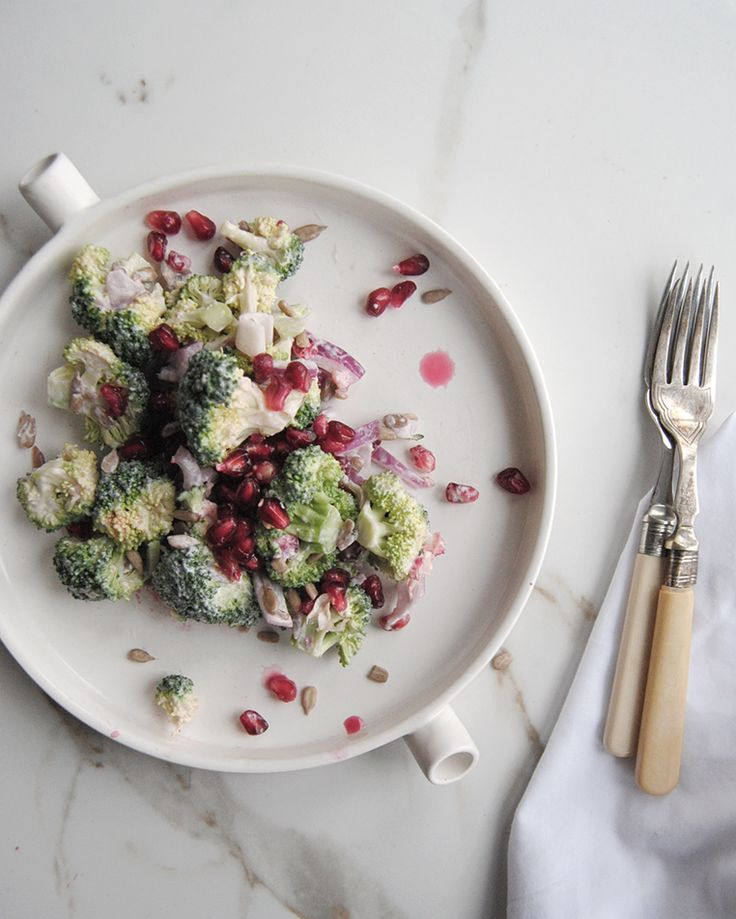 Broccoli salad with pomegranates by Green Kitchen Stories | Ollie & Sebs Haus