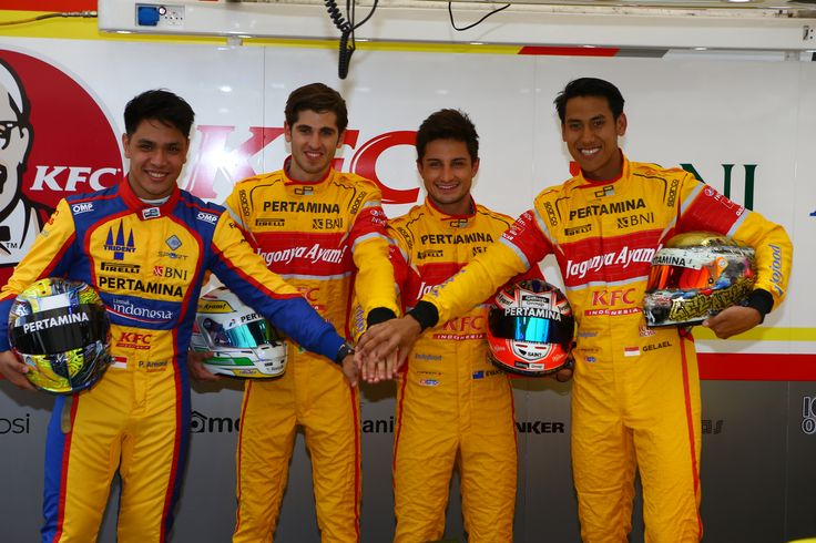 2016 GP2 racing drivers.  Philo Paz Armand - Antonio Giovinazzi - Mitch Evans - Sean Gelael. Round 1 Barcelona, Circuit de Cataluna
