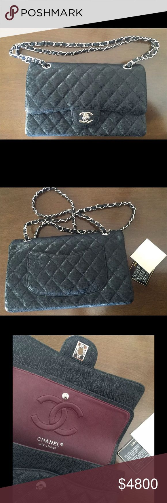 Auth Chanel double flap caviar medium silver HW Like new double flap bag caviar black leather and authentic!! Comes with black magnetic box, authenticity card and sticker, Chanel care folder and booklet as well as Chanel tissue paper and ribbon. Make me a deal I can't refuse. CHANEL Bags Crossbody Bags