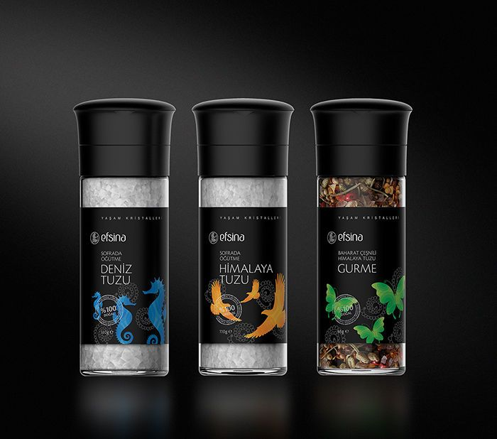 Efsina is a 100% Organic Salt Brand that Uses Natural Element Packaging #health trendhunter.com