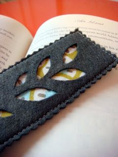 ✄ A Fondness for Felt ✄ felted craft diy inspiration - Felt Bookmark with cutout leaves