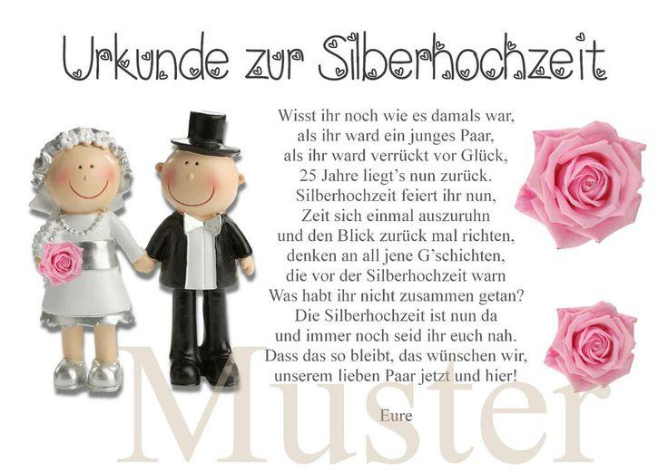 Urkunde zur Silberhochzeit 25. Hochzeitstag silber Brautpaar in DIN A4