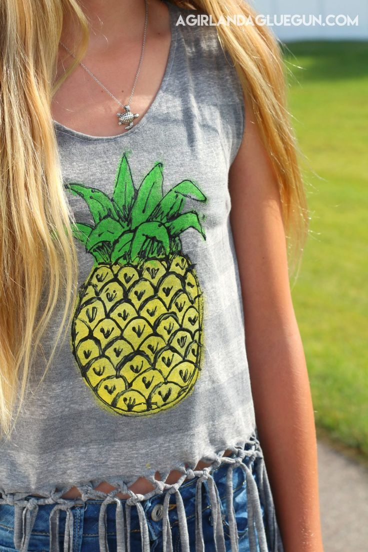 Best Diy Crafts Ideas For Your Home : How to make a fringe tank top from a t-shirt. Includes instructions to paint the...  https://diypick.com/decoration/decorative-objects/crafts/best-diy-crafts-ideas-for-your-home-how-to-make-a-fringe-tank-top-from-a-t-shirt-includes-instructions-to-paint-the/