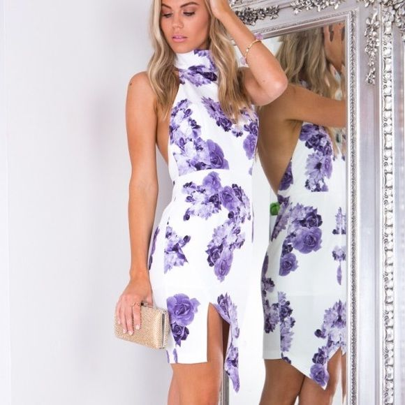 Showpo Purple Floral Dress Purple floral dress from showpo, no damages, never worn, new with tags, can send more pics upon approval http://www.iloveshowpo.com/date-night-dress-in-purple-floral I prefer Venmo!!! $40 after shipping! US Size 4 Showpo Dresses Midi