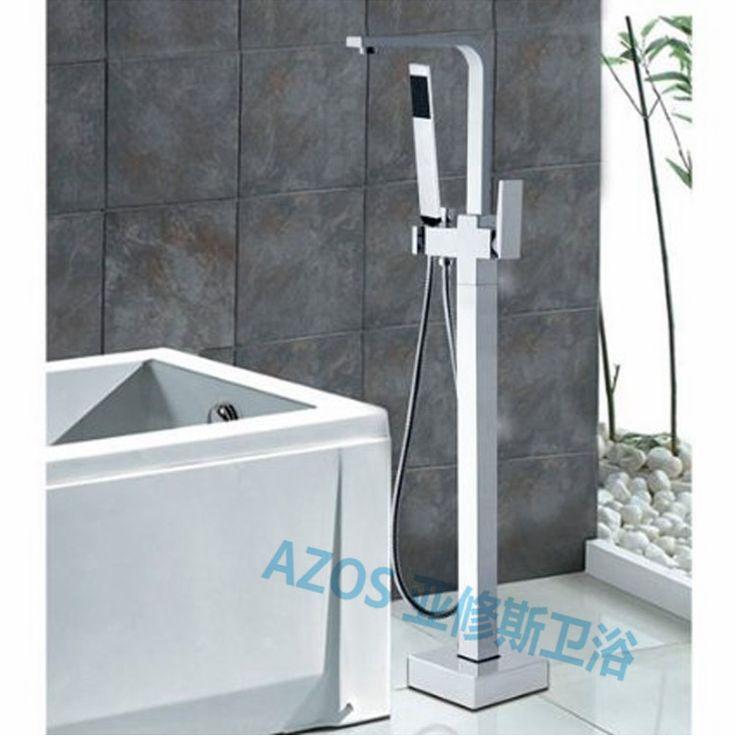 Superb Bathtub Faucets Modern Chrome Brass Water Mixers Floor Stand Hand Hold  Bathroom Shower Sauna Kit LDTZ008