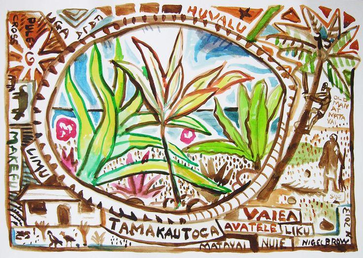 Niue Circle (2013) watercolour on paper, 297 x 420mm