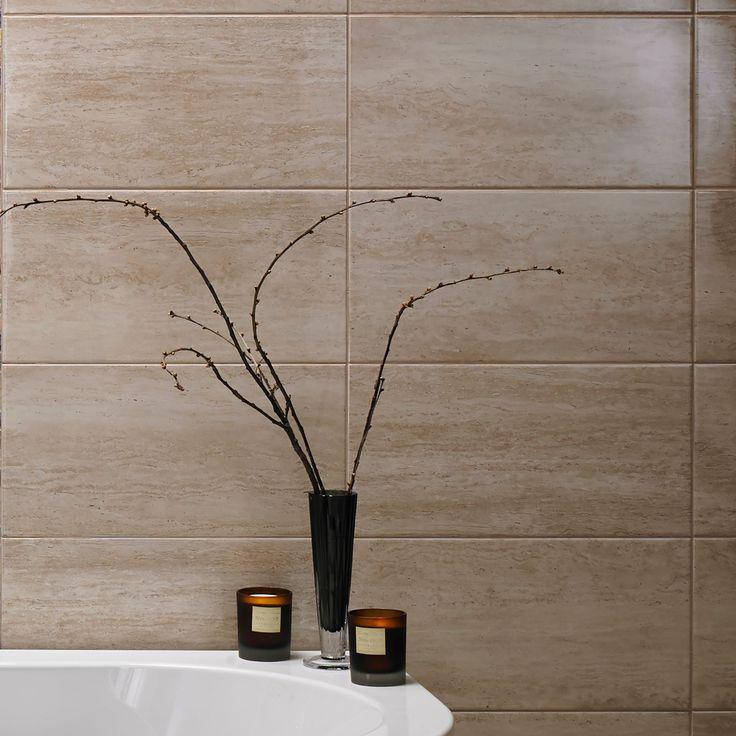 Origin Sand Linear Travertine Ceramic Wall Tile, Pack of 8, (L)498mm (W)248mm | Departments | DIY at B&Q