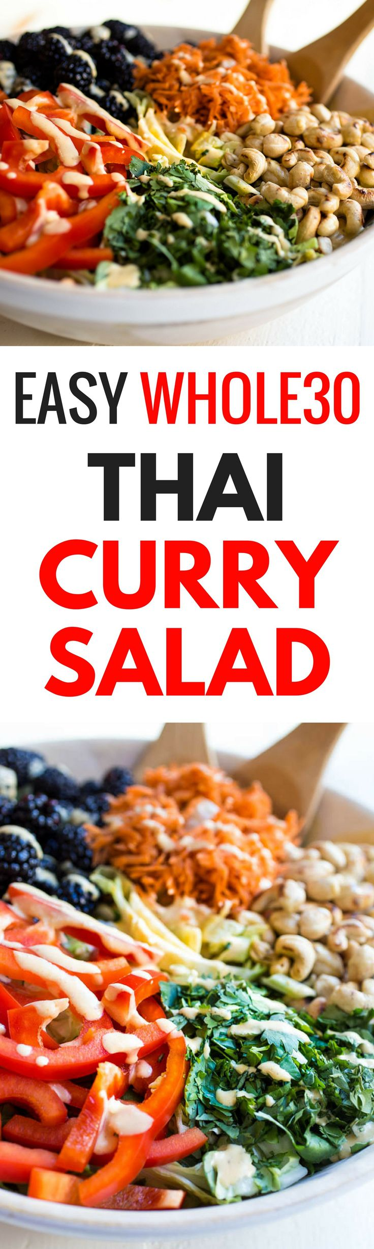 An easy recipe for a delicious, paleo, Whole30 compliant & vegan Thai Curry Salad that will leave you feeling full & satisfied. Whole30 salad recipes. Whole30 dinner recipes. Easy Whole30 recipes can be found here. Quick, easy, healthy, dairy free Thai Cu asian detox soup
