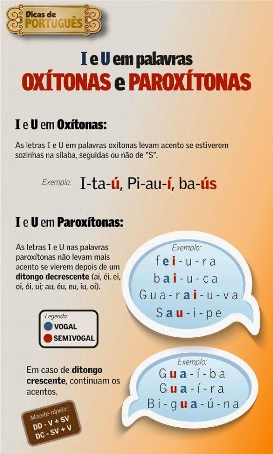 Português na tela: #dicasdasemana: I e U em palavras oXíToNaS e PaRoX...