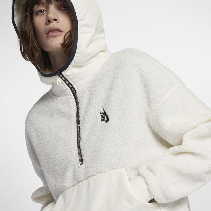 NikeLab Essentials Sherpa Women's Hoodie Size Medium (Cream)