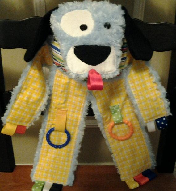 Puppy Dog Taggie Blanket by knitbabylady on Etsy, $29.00