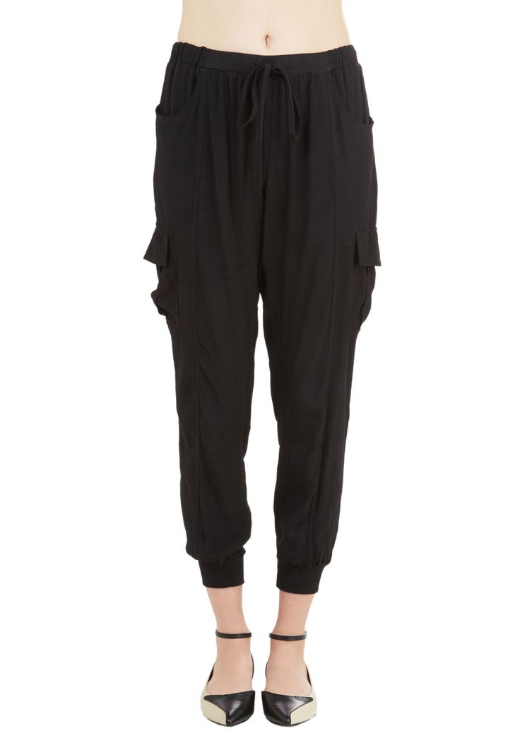 Save the Best for Relax Pants in Black. Just because youre taking it easy doesnt mean you have to sacrifice your style - slip into these comfy black pants and bask in their laid-back luxury! #black #modcloth