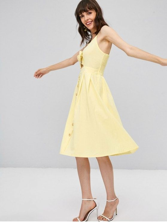 d693cb987791 Lemon Chiffon Summer No Solid Button Sleeveless Spaghetti Mini Slip A-Line  Casual and Day and Going Brief Smocked Tie Front Cami Dress